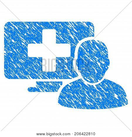 Grunge Computer Doctor icon with grunge design and dust texture. Unclean vector blue Computer Doctor pictogram for rubber seal stamp imitations and watermarks. Draft sign symbol.