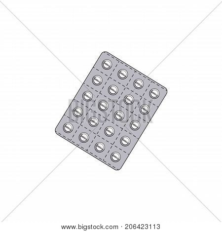 Vector blister with pills flat . Illustration isolated on a white background. Cold and flu treatment concept, medicine and drugs. Cartoon illness therapy tools
