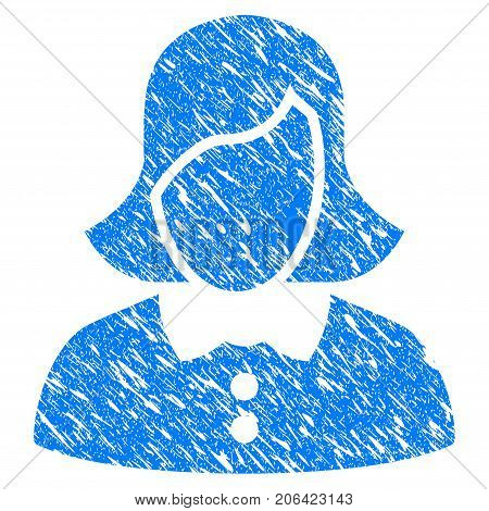 Grunge Female icon with grunge design and dust texture. Unclean vector blue Female pictogram for rubber seal stamp imitations and watermarks. Draft sticker symbol.