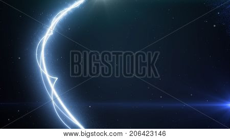 Two Blue Light Streak Breaks Out On A Black Background With Smoke And Light Particles 3D Illustratio
