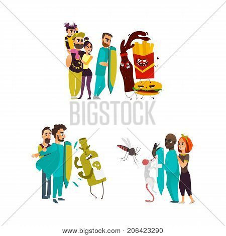vector flat male doctors protecting male patient by own chest , shield from mental illness - alcoholism, nicotine , fastfood addiction set. Isolated illustration on a white background