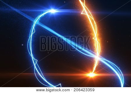 Cold And Hot Light Streak Breaks Out On A Black Background With Smoke And Light Particles 3D Illustr