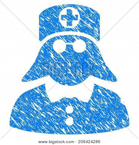 Grunge Medical Nurse icon with grunge design and dirty texture. Unclean vector blue Medical Nurse pictogram for rubber seal stamp imitations and watermarks. Draft sticker symbol.