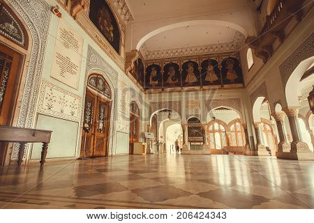 JAIPUR, INDIA - JAN 22, 2016: Interior of the hall with artworks of historical Albert Hall Museum on January 22, 2016. Indo-Saracenic architecture building was opened in 1887.