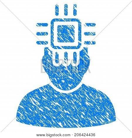 Grunge Neuro Interface icon with grunge design and unclean texture. Unclean vector blue Neuro Interface pictogram for rubber seal stamp imitations and watermarks. Draft sign symbol.
