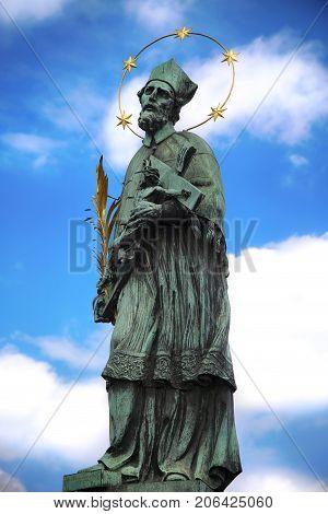 Statue of St. John of Nepomuk on the Charles Bridge (Karluv Most) in Prague Czech Republic
