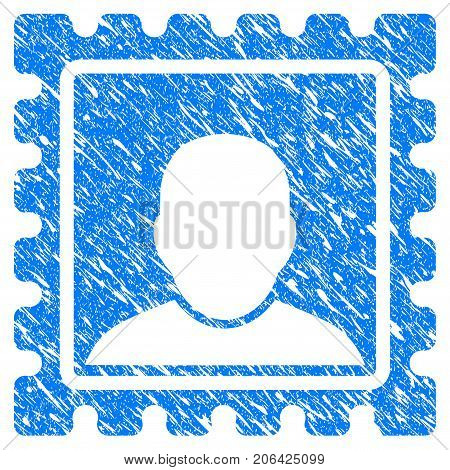 Grunge Postal Mark icon with grunge design and dust texture. Unclean vector blue Postal Mark pictogram for rubber seal stamp imitations and watermarks. Draft sticker symbol.