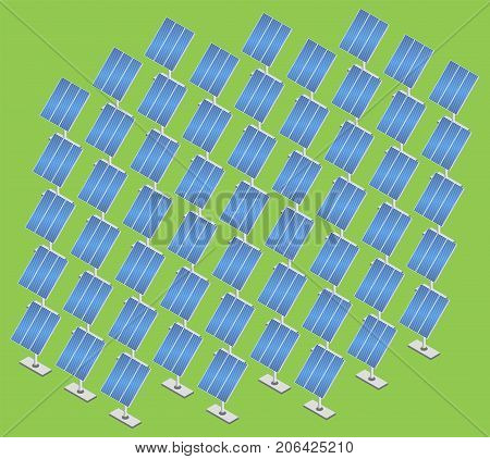 Solar panels plant. Solar energy station isometric. Set of solar panel. Vector illustration.