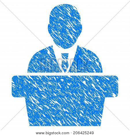 Grunge Reporter icon with grunge design and scratched texture. Unclean vector blue Reporter pictogram for rubber seal stamp imitations and watermarks. Draft sticker symbol.