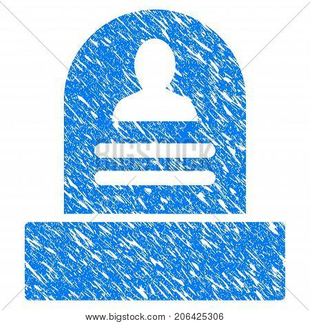 Grunge Rip Monument icon with grunge design and dirty texture. Unclean vector blue Rip Monument pictogram for rubber seal stamp imitations and watermarks. Draft sign symbol.