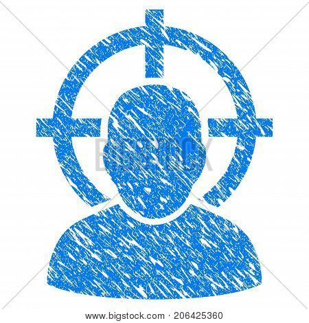 Grunge Shoot Person icon with grunge design and scratched texture. Unclean vector blue Shoot Person pictogram for rubber seal stamp imitations and watermarks. Draft sticker symbol.
