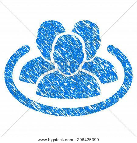 Grunge Social Network icon with grunge design and dust texture. Unclean vector blue Social Network pictogram for rubber seal stamp imitations and watermarks. Draft sticker symbol.