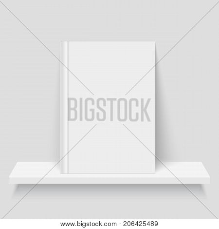 Mock-up of an empty book on a shelf. Realistic vector illustration.
