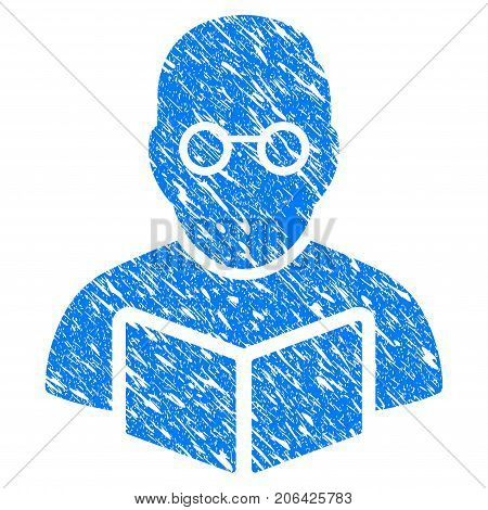 Grunge Teacher icon with grunge design and dirty texture. Unclean vector blue Teacher pictogram for rubber seal stamp imitations and watermarks. Draft emblem symbol.