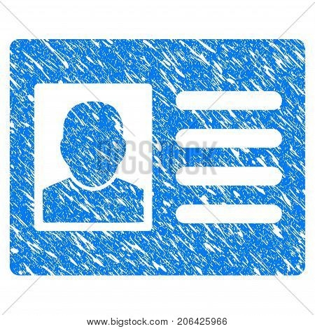 Grunge User Account icon with grunge design and dirty texture. Unclean vector blue User Account pictogram for rubber seal stamp imitations and watermarks. Draft sticker symbol.