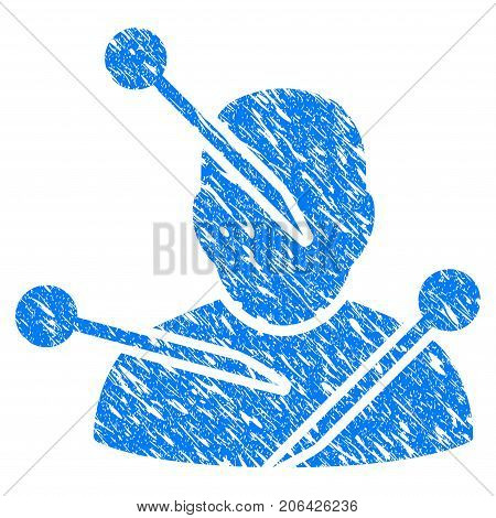 Grunge Voodoo Needles icon with grunge design and dust texture. Unclean vector blue Voodoo Needles pictogram for rubber seal stamp imitations and watermarks. Draft sign symbol.