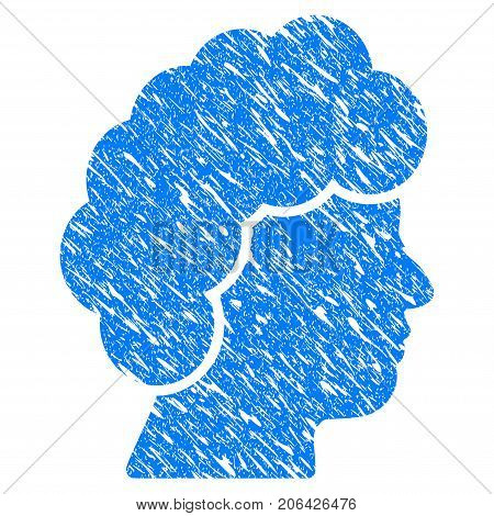 Grunge Woman Profile icon with grunge design and dirty texture. Unclean vector blue Woman Profile pictogram for rubber seal stamp imitations and watermarks. Draft emblem symbol.