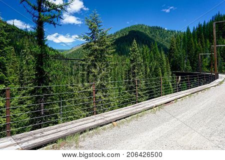 multiple trestle bridges of a rails to trails pathway in Idaho