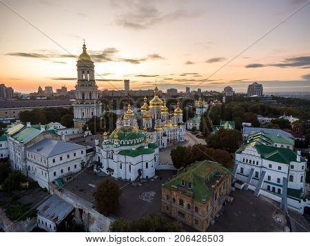 Aerial view of Kiev Pechersk Lavra, Kiev, Kyiv, Ukraine. Kyiv-Pechersk Lavra on a hill on the banks of Dnipro river.