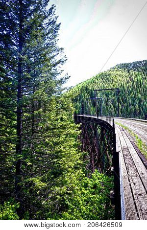 vertical shot of trestle bridge on a rails to trails pathway in Idaho