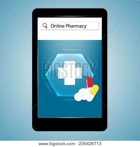 Pharmacy online. Medical cross sign pill tablet on smartphone. Web medicine. Vector illustration.
