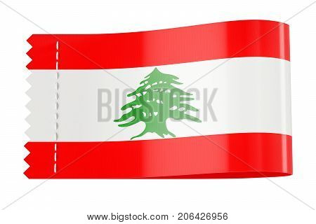 Clothing tag label with flag of Lebanon. 3D rendering isolated on white background