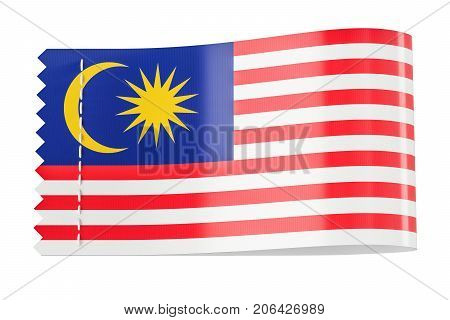 Clothing tag label with flag of Malaysia. 3D rendering isolated on white background