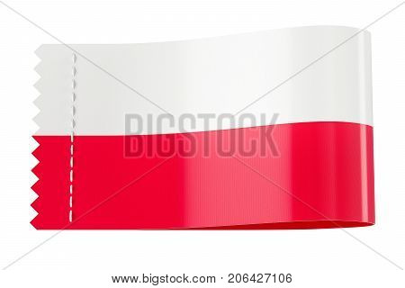 Clothing tag label with flag of Poland. 3D rendering isolated on white background