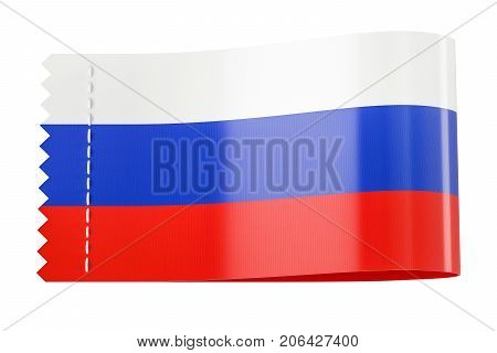 Clothing tag label with flag of Russia. 3D rendering isolated on white background