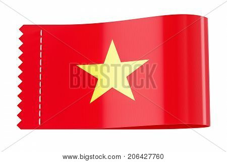 Clothing tag label with flag of Vietnam. 3D rendering isolated on white background