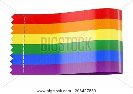 Clothing tag label with rainbow flag. 3D rendering isolated on white background