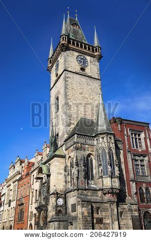 The Prague old City Hall (clock tower) Old Town Square in Prague Czech Republic