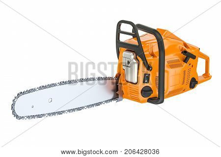 Chainsaw 3D rendering isolated on white background