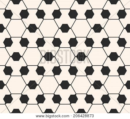 Vector ornamental geometric texture. Abstract monochrome seamless pattern. Thin geometric lines, delicate hexagonal structure. Modern geometric hexagonal background pattern, repeat tiles. Design for prints, covers, textile, digital, web