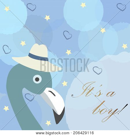 Baby Boy Birth Announcement. Cute Bird Announces The Arrival Of A Boy