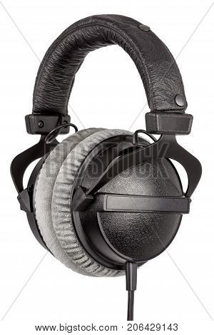 Professional Stereo Headphones Hanging On White Background