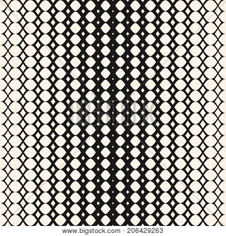 Halftone mesh pattern. Vector monochrome texture, geometric halftone seamless pattern with mesh, lattice, net. Stylish abstract background with gradient transition effect. Curved lines, repeat tiles. Design for decor, prints, textile. - Stock vector