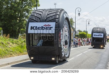 Sainte Marguerite sur Mer France - July 09 2015: Kleber Caravan during the passing of Publicity Caravan before the stage 6 of Le Tour de France 2015 on 09 July 2015. Kleber is a famous European company which products a wide range of tyres.