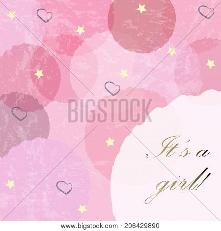 It's a girl. Modern Card Design with announcement of baby girl arrival. Baby Girl Birth announcement. Vector Illustration