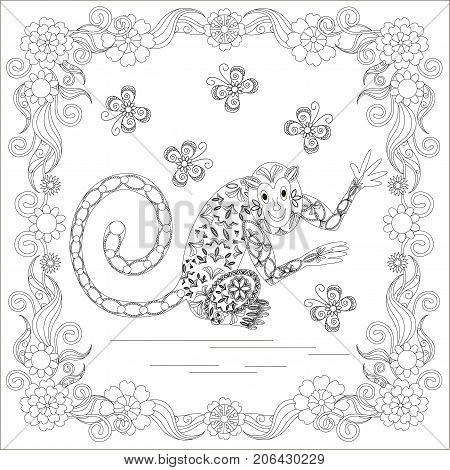 Anti stress abstract monkey, butterflies, square flowering frame hand drawn monochrome vector illustration