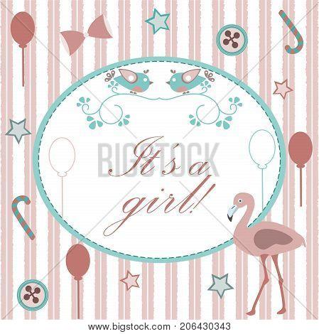 Baby Girl Birth Announcement. Baby Shower Invitation Card. Cute Pink Flamingo Bird Announces The Arr