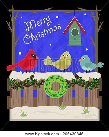 Cute Christmas greeting card of a snowy yard and birds standing on a fence. Eps10