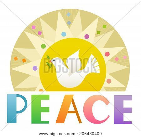 Decorative Peace sign with stylized sun, dove and the word peace at the bottom. Eps10