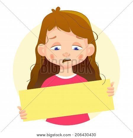 Sad Girl holding blank poster. Blank message illustration. Hands holding blank paper