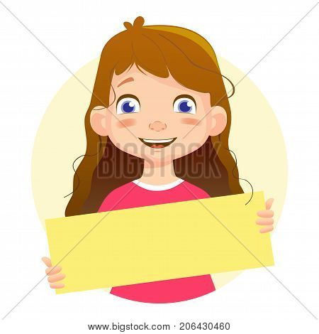 Smiling Girl holding blank poster. Blank message illustration. Hands holding blank paper