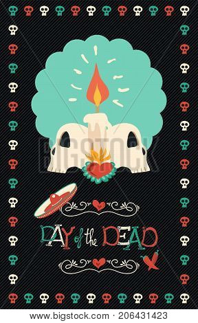 Day Of The Dead Hand Drawn Sugar Skull Poster Art