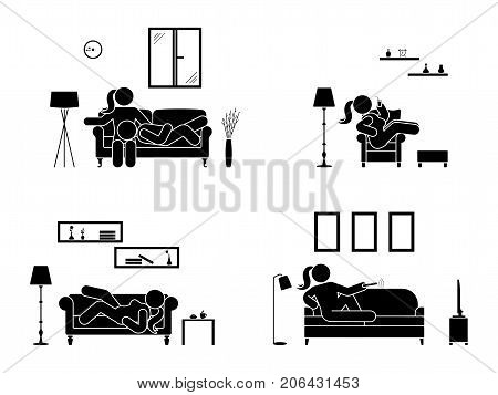 Stick figure resting at home position set. Sitting lying watching tv sleeping drinking icon relaxing posture on sofa and armchair. Furniture pictogram