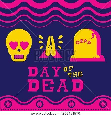 Happy Day Of The Dead Sugar Skull Emoji Icon Art