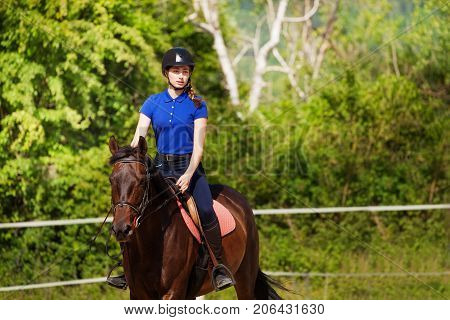 Portrait of horsewoman with show jumping horse during open competition