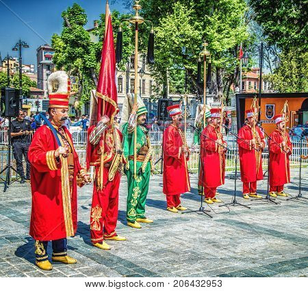 ISTANBUL TURKEY - MAY 5 2017: The performance of the military orchestra of the janissary music Mehter at Sultanahmet square